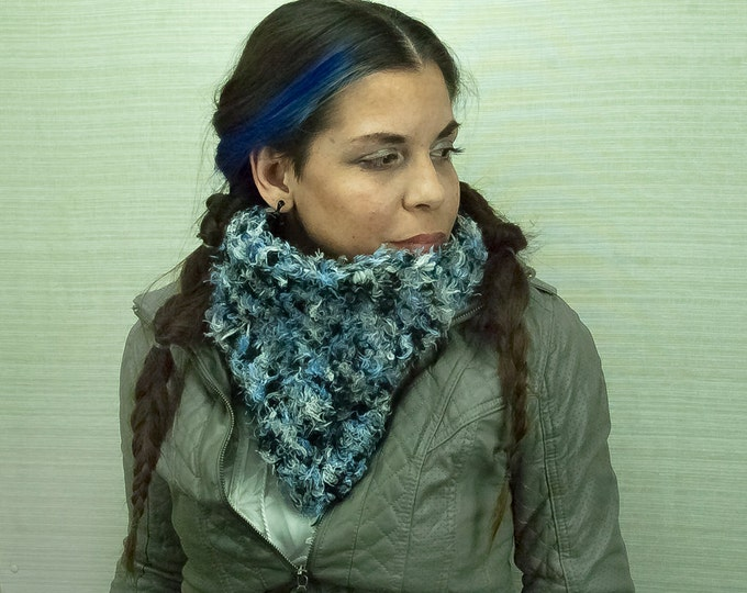 Fuzzy Scarf Soft Blue, White and Grey  Circle Cowl
