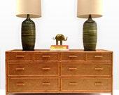 Free Shipping Vintage Palm Beach Rattan 8 Drawer Dresser