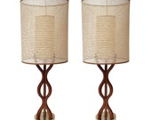 Holiday Sale Pair of Mid Century Sculpted Wood Table Lamps w/ Original Shades