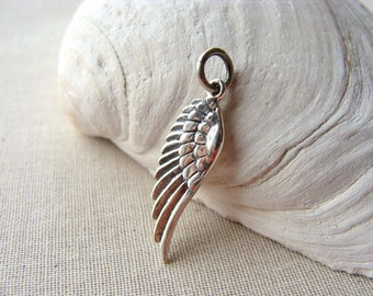 Angel Wing Pendant, Sterling Silver Angel Wing, Small Silver Bird Wing Pendant, Steampunk, 30mm, (1), destash, 10% off use code SAVE10