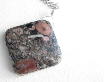 Crinoid Fossil Necklace, Jasper Stone Pendant, Fossilized Science Jewelry