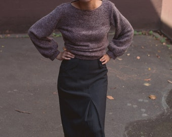 SALE - Iberian Woolen Front-Pleat Skirt in Pavement