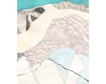WEST 4 SIERRAS 11x14 (Giclée Print of Original Watercolor + Ink + Cut Paper Painting)