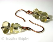 Genuine Untreated Citrine Dangle Earrings: Healing Yellow Lemon Quartz Crystals Wire-Wrapped, Hypoallergenic Copper or Silver, Nickel Free