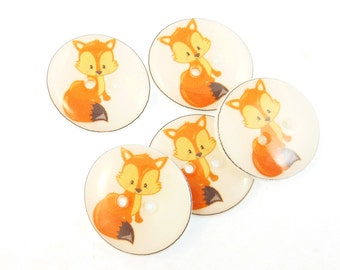 "5 Handmade Red fox Buttons.  3/4"" or 20 mm Sewing Buttons.  Woodland Animal or Fox Novelty Sewing Buttons."