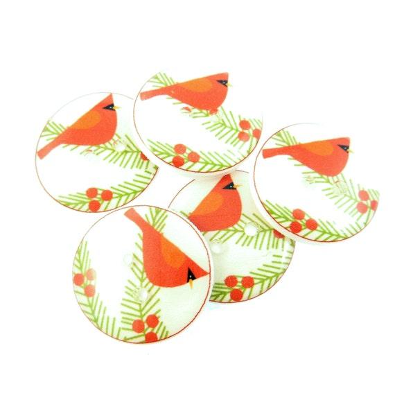 """5 Cardinal Buttons. Christmas Buttons.  Bird Buttons. Handmade Buttons. Sew on.  3/4"""" or 20 mm. Christmas Embellishment."""
