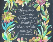 Divine Things Art Print  | Watercolor Quote | Inspirational Print | Lettering | Succulents | Katie Daisy | Wall art | 8x10 | 11x14