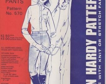 Jean Hardy 570 1970s Misses English Riding Pants Jodhpurs Pattern High Waist  Womens Vintage Sewing Pattern Hip Size 32 - 42 UNCUT