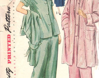 Simplicity 2999 1940s Misses Pajamas and Robe Pattern Housecoat Womens Vintage Sleepwear Sewing Pattern Pattern Size 16 Bust 34