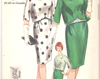 Vogue 4235 1960s Misses Blouse Skirt and Overblouse Pattern Special Design 3 Piece Dress Womens Vintage Sewing Pattern Size 12 Bust 32