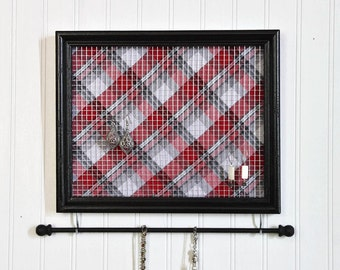 Jewelry Organizer- Black Framed Jewelry Holder- Red Plaid- Upcycled 8x10 Picture Frame