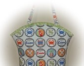 FREE Ship USA Canada - J Castle Boutique Bag - Michael Miller Coastal Beach Collection Bottle Caps Nautical Fabric