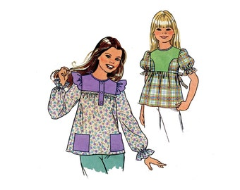 1970s Girls Smock Tops Pattern Puff Sleeves Shoulder Ruffles Patch Pockets Pullover Tops Simplicity 7460 Size 7 Vintage Sewing Pattern