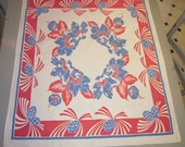 Vintage RWB Tablecloth Art Deco Pineapples & Morning Glories