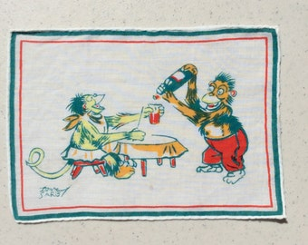 Vintage Textile Tony Sarg Drunken Monkeys Pour Me Another