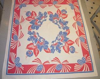 Vintage RWB Tablecloth Art Deco Pineapples & Morning Glories