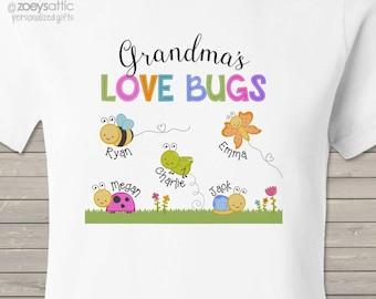 Grandma shirt - Grandma's (or nana or anything) Lovebugs Tshirt personalized with grandkids names