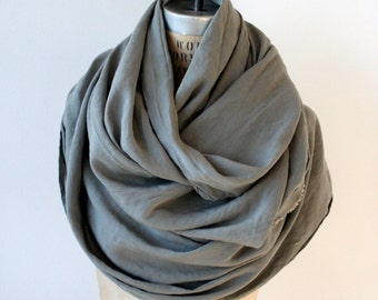 Gray Scarf , Men's Scarf,  Women's Wrap Shawl Long gray scarf, printed text poetry scarves