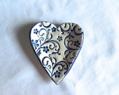 Little Blue and white Floral Heart Ring Holder, dish