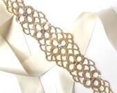 Wide Rhinestone Wedding Dress Sash in Gold - Rhinestone Encrusted Bridal Belt Sash - Crystal Extra Wide Long Wedding Belt