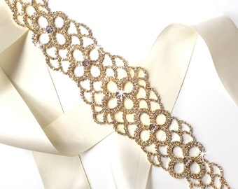 Wide Rhinestone Wedding Dress Sash in Gold - Rhinestone Encrusted Bridal Belt Sash - Crystal Extra Wide Long Wedding Belt