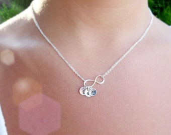Personalized Infinity Necklace, Mothers necklace, Friendship necklace, Best friend gift, cousins, sterling silver, infinity jewelry, otis b