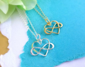 Infinity heart necklace, Infinity jewelry, Friendship necklace, best friend gift, sisters, mother and child, Poly symbol, Heart necklace