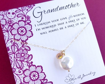 Personalized necklace for Grandmother, pearl necklace, grandparents day gift, grandmom necklace, Wedding gift for grandmother, briguysgirl