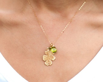 Gold Dipped leaf necklace, birthstone necklace, autuamn wedding, fall wedding, real leaf necklace, green peridot, august, botanical necklace