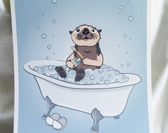 Bathtime Otter - 8x10 Eco-friendly Print