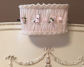 SALE***Vintage Pink Silk Lace Boudoir - Hanging Bed Lamp - Shabby Chic Decor