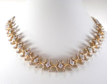 Gold Bridal Necklace - Gold Silver Clear Rhinestone Necklace - Collar - Vintage Jewelry