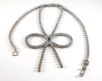 Rhinestone Bow Necklace Clear Black Rhinestones Sparkle Bridal Vintage Jewelry