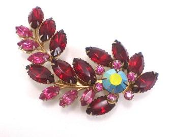 Red Rhinestone Brooch Pin - Retro Flower Romantic Wedding Vintage Jewelry