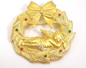 Christmas Wreath Brooch Pin - Sleeping Angel - Designer JJ - Vintage Jewelry
