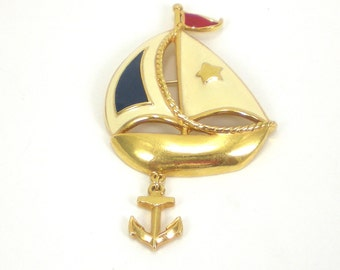 Sailboat Brooch Pin - Vintage Avon Gold Red Blue Cream Enamel Vintage Jewelry Nautical