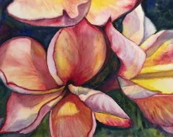 Exotic Pink Plumeria - Original 7x11-inches, Watercolor Painting by Prerana Kulkarni