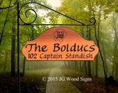 Dog Graphic - Custom Carved Cedar Sign - Family Name with Round Garden Holder