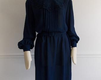 vintage 1970s does 1940s blue sheer dress / 70s secretary dress/ 40s style dress
