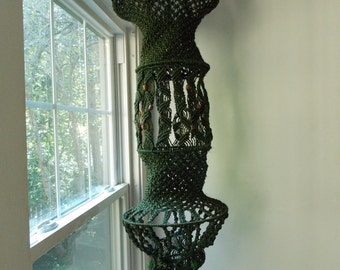 SPECIAL OFFER-Large European 1970s macrame hanging decor/ 70s hippie fiber art/ handmade Boho macrame art chandelier
