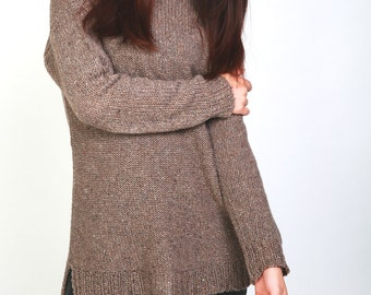 Hand knit woman sweater oversized pullover sweater chocolate brown top