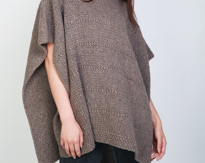 Hand knit heavy wool Poncho/ capelet in brown woman sweater rolled collar