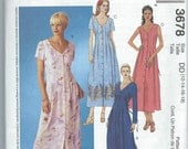 McCall's 3678 - Misses'/Misses' Petite Dresses - Size 12-14-16-18 - Uncut Pattern