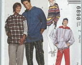 McCall's - 6898 Misses' and Men's Top, Sweatshirt, Pants and Shorts - Size XL-XXL - Uncut Vintage Pattern
