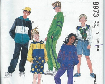 McCall's 8973 Boys' and Girls' Pullover Tops, Pull-On Pants and Shorts - Size S-M - Uncut Pattern
