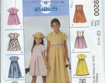 McCall's 9200 Girls' Dress, Jumpsuit and Romper - Size 3-4-5 - Uncut Pattern