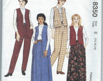 McCall's 8350 Misses' Lined Vest in Two Lengths, Pull-On Pants and Skirt - Size 14-16-18 - Uncut Vintage Pattern