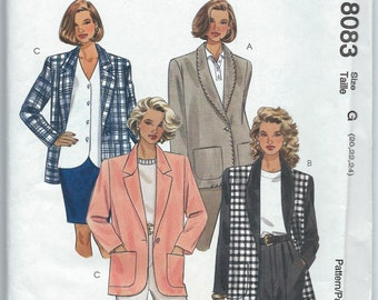 McCall's 8083 Misses' Lined or Unlined Jacket - Size 20-22-24 - Uncut Vintage Pattern