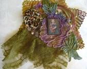 Embellished applique, lace, mixed media, Shibori ribbon