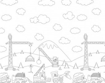 Color Me Construction Zone Border - Michael Miller - woven cotton fabric by the yard